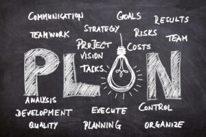 PLAN written on a blackboard with communication, teamwork, strategy, goals, planning, development, problems written around it