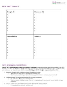 SWOT analysis template screenshot of download - 4 quadrants + SWOT questions
